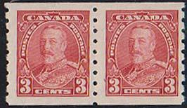 Canada USC #230 Mint VF-H 1935 3c KGV Coil Pair - VF-H Cat. $40.