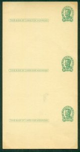 US #UX28, 1¢ postal cards, Uncut sheet of 3, highly unusual, scarce, VF
