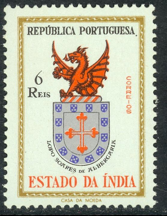 PORTUGUESE INDIA 1958 6r COAT OF ARMS Issue Sc 561 MNH