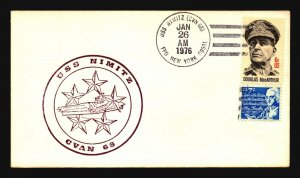 USS Nimitz 1976 (Jan 26) Cacheted Cover - L1316