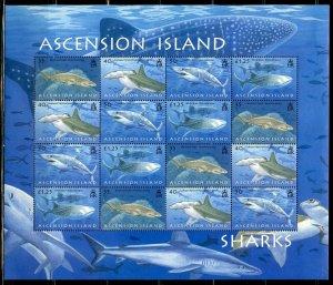 ASCENSION ISLAND SHARKS  SCOTT #936/39  SHEET MINT NH