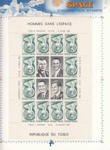 Togo: Space Exploration, S/S X 4, MNH in Clear Mounts (S17805)