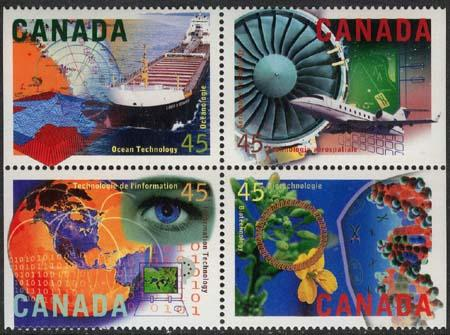 Canada USC #1598i Mint Block of Four Diff. -1996 High Technology VF-NH Cat $5.25