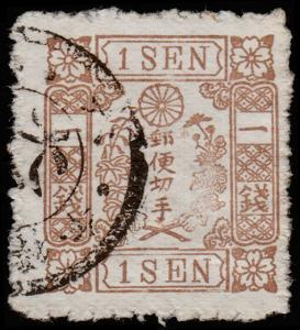 Japan Scott 51, No Syllabic Character (1875) Used F, CV $675.00 D