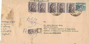bangladesh overprints on pakistan early stamps cover ref 12827