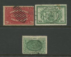 Canada  #E1,E2,E10  Used  1898-1942 3 Single Stamps