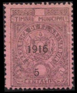 SALVADOR 1916 REVENUE 5 CENTAVOS TIMBRE MUNICIPAL MH