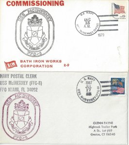 US Naval Cover USS McInerney FFG 8  1979 Commissioning, 1987