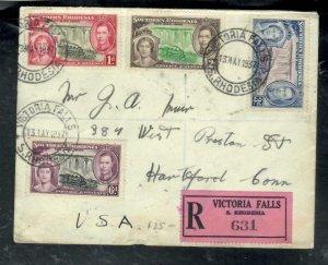 SOUTHERN RHODESIA COVER (P1808B) 1937 KGVI CORONATION SET REG COVER VIC FALLS T