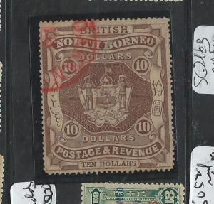 NORTH BORNEO (P1706B) $10.00 ARMS LION SG50 RED SANDAKAN CANCEL VERY RARE   VFU