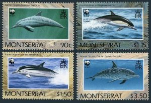 Montserrat 753-756,MNH.Michel 786-789. WWF 1990.Dolphins of Atlantic.