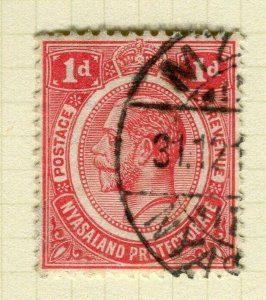NYASALAND; 1913 early GV issue fine used 1d. value