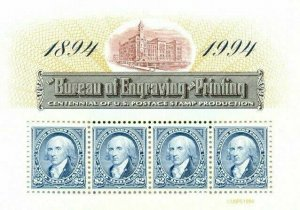 US: 1994 BUREAU of ENGRAVING and PRINTING S/S Sc 2875; Four $2 Values
