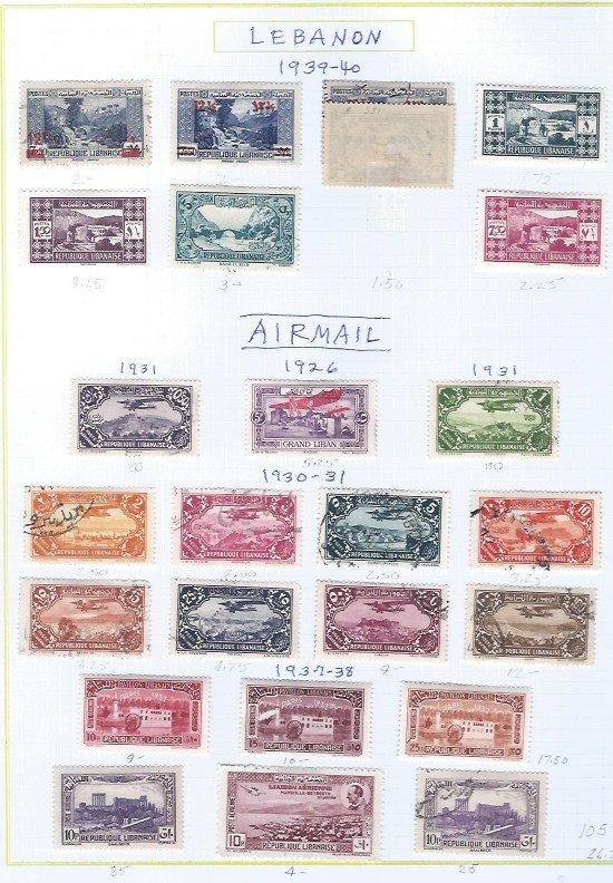 LEBANON USED  AIRMAIL SCV $105.45  STARTS @20% OF CAT VALUE