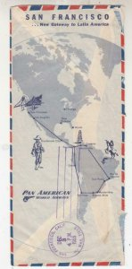 GUATEMALA, 1955 PANAM First Flight cover to San Francisco, map on reverse..