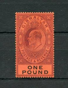 GIBRALTAR ONE POUND 1904/08 #64 MINT VERY LIGHT HINGED ---SCOTT $650.00