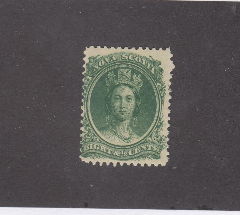 NOVA SCOTIA REF# KM9 # 11 FVF-MNH 81/2cts Q VICTORIA GRN CAT VALUE $30