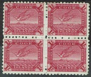 COOK ISLANDS 1893 TOREA BIRD 1/- */** BLOCK WMK STAR NZ SIDEWAYS PERF 11