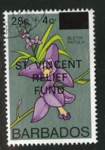 Barbados Scott B2 Used CTO St. Vincent Relief stamp 1979