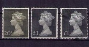 SG830-SG831 Great Britain 3 EACH Machin Lot Queen Elizabeth II Used F-VF