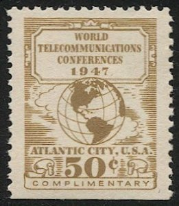 US 1947 Sc 17T3  MNH 50c US Telegraph-Cable-Radio Carriers, VF, Globe/Map