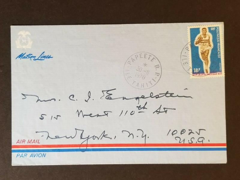1970 Tahiti to New York City Matson Line Cruise Ship Sea Cancel Air Mail Cover