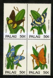 PALAU 300 MNH BLOCK OF 4 SCV $4.00 BIN $2.50 BUTTERFLIES