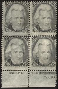 momen: US Stamps #93 Mint OG Plate Block of 4 Rare