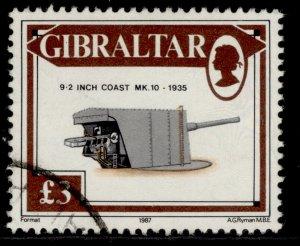 GIBRALTAR QEII SG580, 1987 £3 9.2 inch MK coastal gun, FINE USED. Cat £13.
