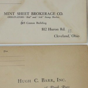 1930-40s vintage NY stamp dealer envelopes