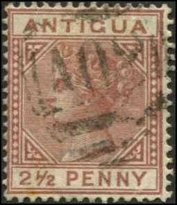 Antigua SC# 13 SG# 22 Victoria 2-1/2d wmk 2 Used