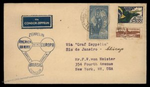 Brazil 1933 Graf Zeppelin Germany Si239A Cover Century of Progress Expo 97062