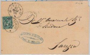 ITALIA REGNO: storia postale - Sass 56 MBC su BUSTA da BOVEGNO ( BRESCIA) 1891