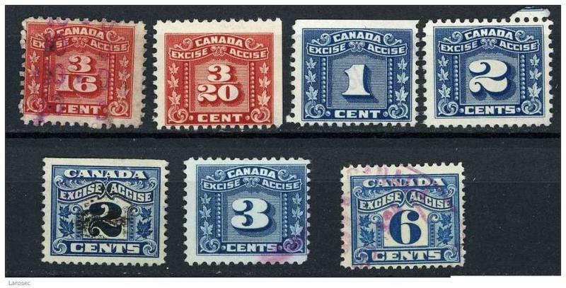 Canada revenue - Various Excise Accise Tax stamps
