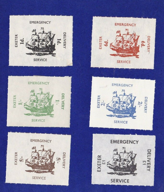 GB278) 1971 Strike, Exeter Emergency Delivery Service, Set of 6, Dual Currency.