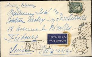 POLOGNE / POLAND 1952 Mi.672 & 683A /REG'd AIR MAIL COVER KRAKOW to SWITZERLAND