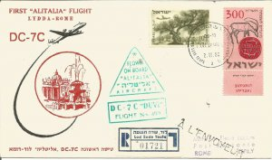 First Alitalia Flight Lydda Israel  - Rome Flown Cover 2nd November 1958 Z10309