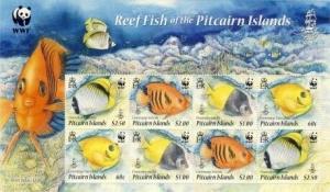 Pitcairn Isl - Reef Fish - 8 Stamp  Sheet 16B-003