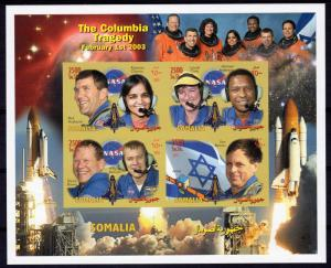Somalia 2003 The Columbia Tragedy/Ilan Ramon Sheetlet (4) IMPERFORATED MNH