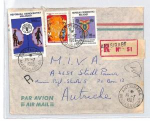 CA27 1983 Madagascar REGISTERED *Antsirabe* Airmail Cover MISSIONARY VEHICLES