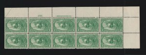 US 285 1c Trans-Mississippi Mint Plate #592 Block of 10 VF OG LH SCV $600