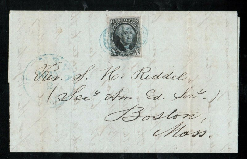 USA #2 Extra Fine Used On Folded Letter To Boston Tied By 5 Blue Grid