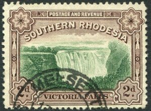 SOUTHERN RHODESIA-1935-41 2d Green & Chocolate Perf 12½ Sg 35 FINE USED V35958