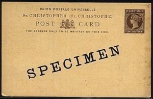 ST CHRISTOPHER QV 1½d postcard SPECIMEN....................................19227