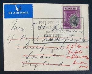 1937 Zanzibar First Flight Airmail Cover FFC To London England North Bound
