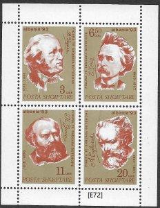 [E72] Albania 1995. Famous composers, Mi 2547-2550, MNH