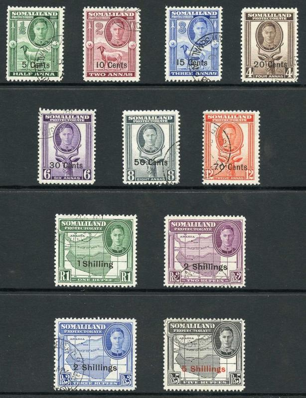 Somaliland Protectorate SG125/35  1951 KGVI Set of 11 Fine Used