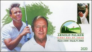 20-040, 2020, Arnold Palmer, Digital Color Postmark, First Day Cover, Golf,