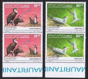 Mauritania Birds Cormorants Terns 2v issue 1988 in pairs with Bottom Margin