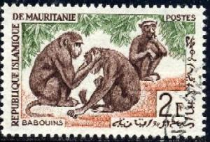 Guinea Baboons, Mauritania stamp SC#137 used
